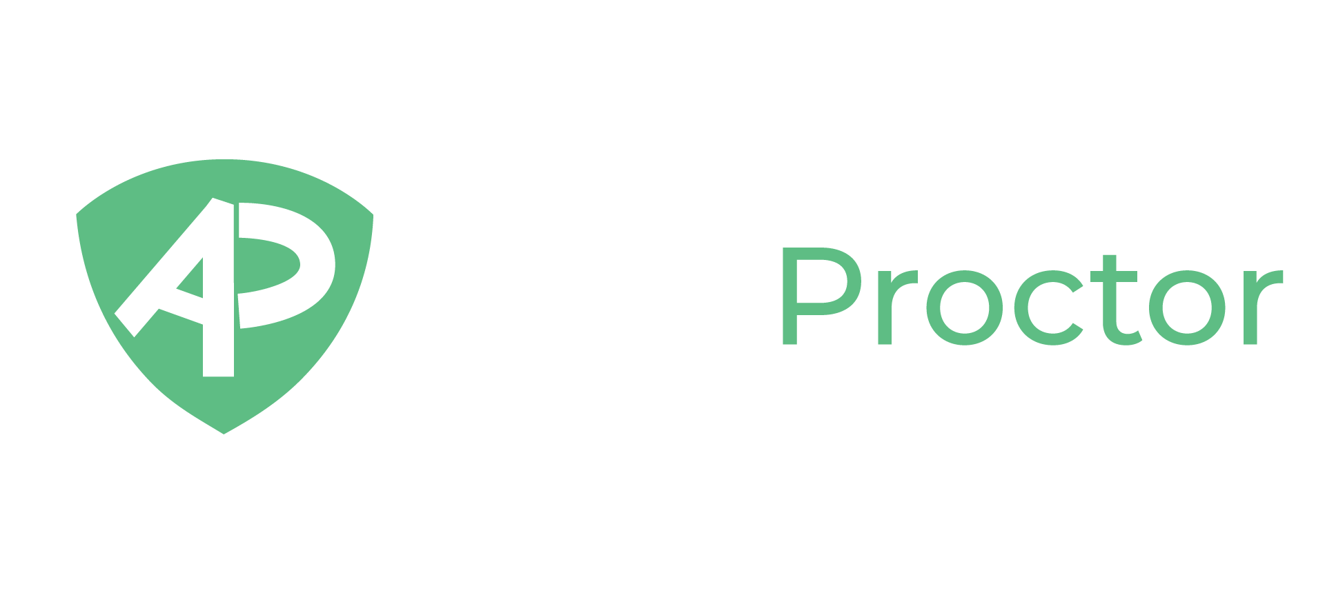 AutoProctor Logo shows the word AutoProctor and has a Shield symbol with AP written inside it